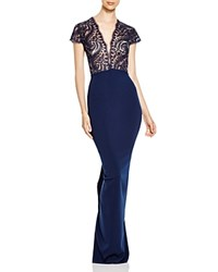 Nicole Bakti Embroidered Lace Bodice Gown Navy