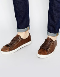 New Look Faux Leather Lace Up Trainers Darkbrown