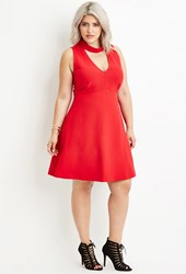 Forever 21 Plus Size Cutout Back Mock Neck Dress Red