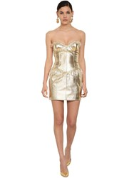 Moschino Crystal Drop Laminated Leather Dress Platinum