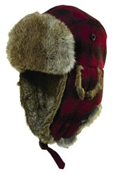 Men's Woolrich Earflap Hat With Genuine Rabbit Fur Trim