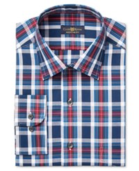 Club Room Men's Estate Classic Fit Wrinkle Resistant Blue Large Tartan Dress Shirt Only At Macy's