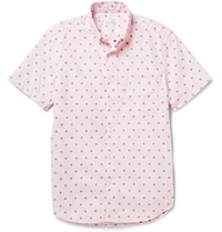 Steven Alan Palm Tree Embroidered Cotton Oxford Shirt Pink