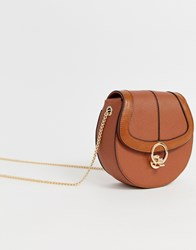 Miss Kg Across Body Saddle Bag With Hardware Tan