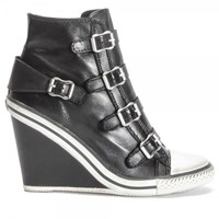 Ash Thelma Hi Top Wedge Leather Trainers Black