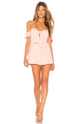 About Us Dayana Tie Front Off Shoulder Romper Blush