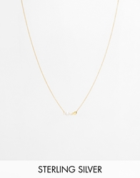 Asos Gold Plated Sterling Silver Faux Pearl And Heart Choker Necklace