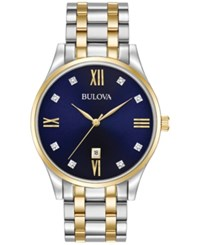 Bulova Men's Diamond Accent Two Tone Stainless Steel Bracelet Watch 40Mm 98D130 Two Tone