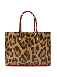 Christian Louboutin Cabata Leopard Print Grained Leather Tote Leopard