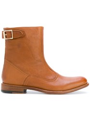 Paul Smith Buckle Detail Ankle Boots Leather 38.5 Brown