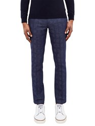 Ted Baker Rectro Checked Linen Cotton Blend Trousers Bright Blue