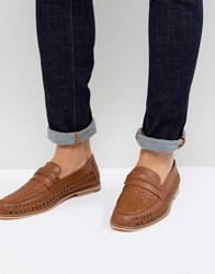 Frank Wright Woven Shoes In Tan