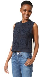 Sea Sleeveless Combo Knit Pullover Navy