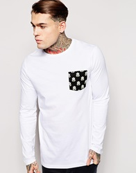 Asos Longline Oversized Long Sleeve T Shirt With Floral Woven Pocket White
