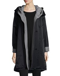 Eileen Fisher Reversible Hooded Rain Coat Black Pewter Black Pewter