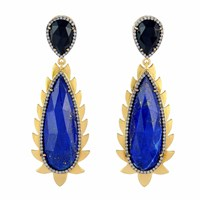 Meghna Jewels Flame Drop Earrings Lapis And Diamonds Pink Purple