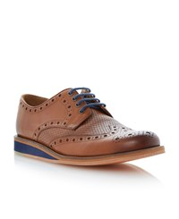 Bertie Brock Lace Up Wedge Woven Brogues Tan