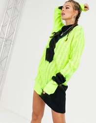 Jaded London Knitted High Neck Jumper Dress In Bleached Neon Green