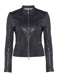 Hugo Boss Janabelle1 Collarless Leather Jacket In Dark Blue Navy