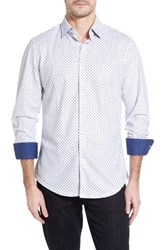 Stone Rose Men's Polka Dot Paisley Sport Shirt White