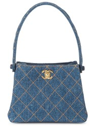 Chanel Vintage Quilted Denim Mini Tote Blue