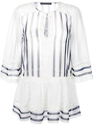 Alberta Ferretti Lace Trim Striped Blouse White