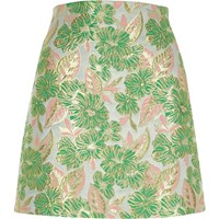 River Island Green And Pink Floral Jacquard Mini Skirt