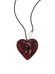 Alexis Bittar Pop Surrealist Lucite And Crystal Doublet Black Cherry Heart Necklace Red