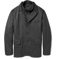 Faconnable Wool Flannel Jacket With Detachable Insert Gray