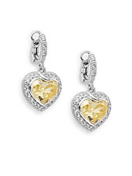 Judith Ripka Legacy Canary Stone White Sapphire And Sterling Silver Heart Drop Earrings Yellow