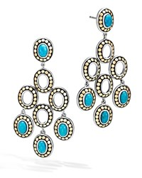 John Hardy Sterling Silver And 18K Bonded Gold Dot Chandelier Earrings With Turquoise 100 Exclusive Blue Gold