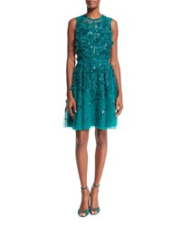 Elie Saab Sleeveless Embroidered Tulle Cocktail Dress Emerald Green Women's