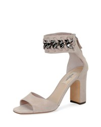 Valentino Suede Chain Ankle Wrap Sandal Neutral