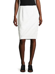 Calvin Klein Solid Cotton Blend Pencil Skirt White