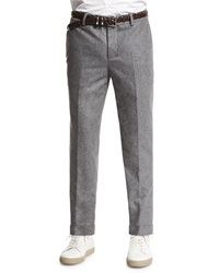 Brunello Cucinelli Flat Front Flannel Trousers Dark Gray
