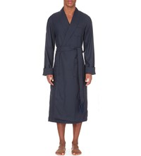 Derek Rose Tasselled Wool Dressing Gown Navy