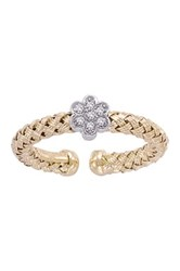 Meshmerise 18K Gold Vermeil And Sterling Silver Diamond Flower Station Braided Mesh Ring 0.10 Ctw Metallic