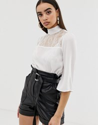 Fashion Union High Neck Top With Lace Panel White