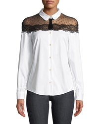 Red Valentino Button Front Long Sleeve Stretch Poplin Blouse W Point D'esprit White
