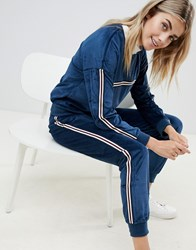 Brave Soul Karrie Veolur Track Pants With Side Stripe Navy