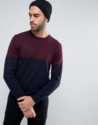 French Connection Crew Neck Colour Block Knitted Jumper Navy