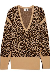 Topshop Unique Exhall Leopard Intarsia Jacquard Knit Sweater Leopard Print
