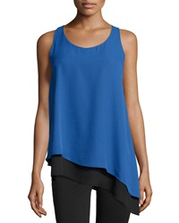 Max Studio Asymmetric Hem Colorblock Tank Monaco Blue Black