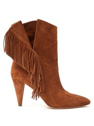 Aquazzura Apache 85 Fringed Suede Ankle Boots Tan