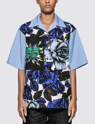 Prada Printed Rose Poplin Blouse Blue