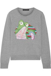 Marc Jacobs Appliqued Wool Sweater Gray
