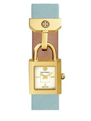 Tory Burch The Surrey Goldtone Stainless Steel And Leather Strap Watch Light Blue