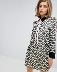 Sister Jane Shift Dress With Tie Up Bow In Jacquard Multi