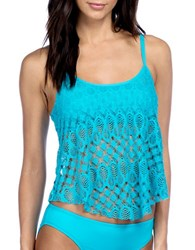 Kenneth Cole Reaction Solid Crochet Tankini Azul