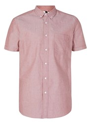 Topman Washed Red Button Down Short Sleeve Oxford Shirt